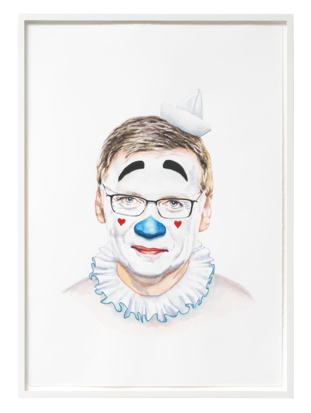 Tobias Rehberger: Heiden Spaß 3 (Günther Jauch), 2018, Wasserfarben auf Papier, Papierr: 54,1 x 37,9 cm, framed: 57 x 41 cm, Courtesy der Künstler und neugerriemschneider, Berlin, Foto: Jens Ziehe, Berlin