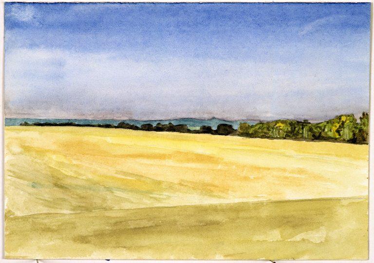 Tobias Rehberger, S.M.V., 1993, Wasserfarben auf handgeschöpftem Papier, 11 x 15 cm, Sammlung Deutsche Bank , Foto: Courtesy Sammlung Deutsche Bank
